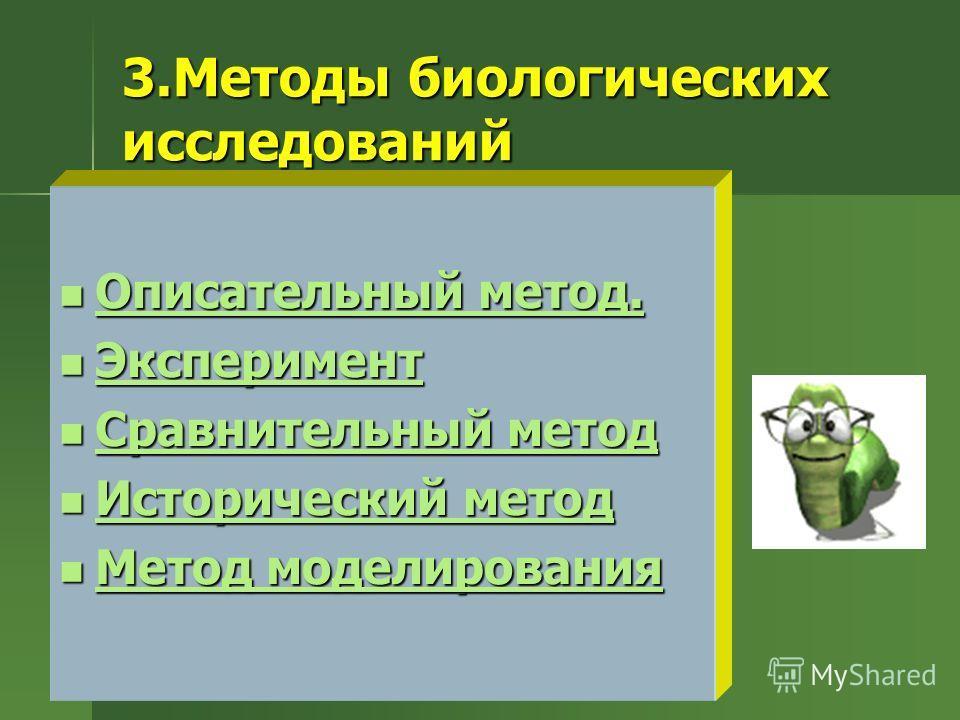 3.Методы биологических исследований Описательный метод. Описательный метод. Описательный метод. Описательный метод. Эксперимент Эксперимент Эксперимент Сравнительный метод Сравнительный метод Сравнительный метод Сравнительный метод Исторический метод