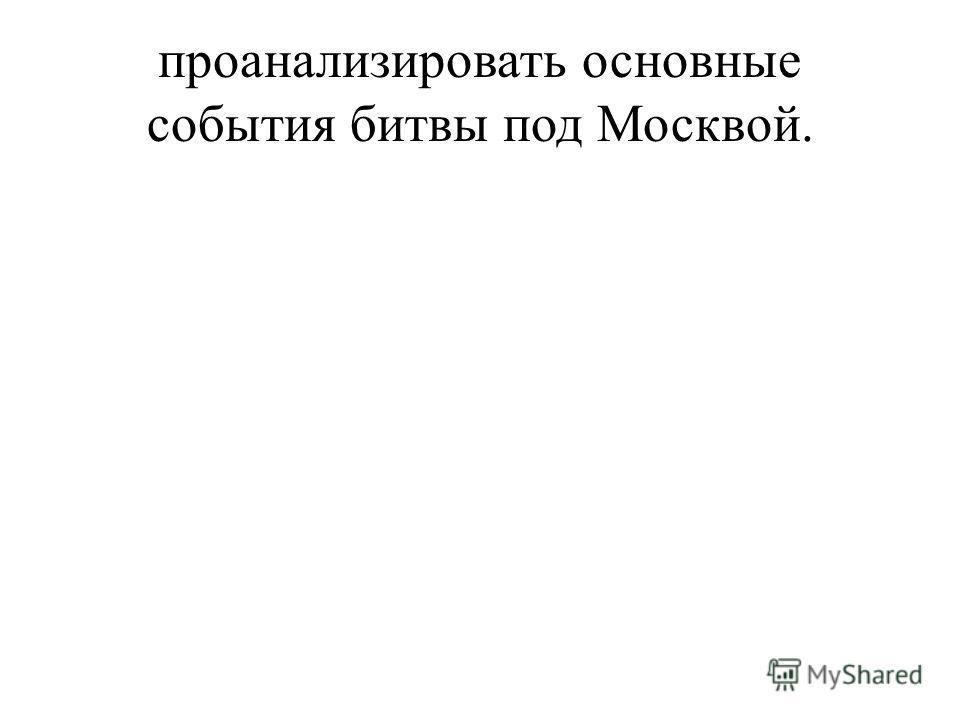 проанализировать основные события битвы под Москвой.