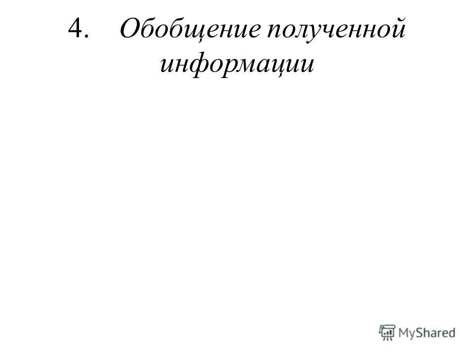4. Обобщение полученной информации