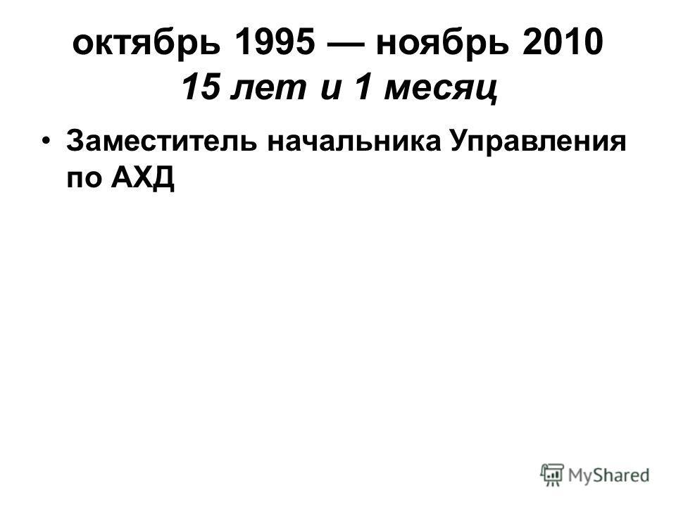октябрь 1995 ноябрь 2010 15 лет и 1 месяц Заместитель начальника Управления по АХД