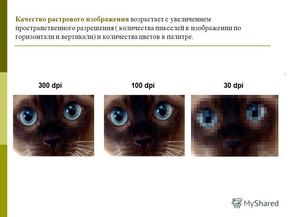 Качество растрового изображения возрастает с увеличением пространственного разрешения ( количества пикселей в изображении по горизонтали и вертикали) и количества цветов в палитре.