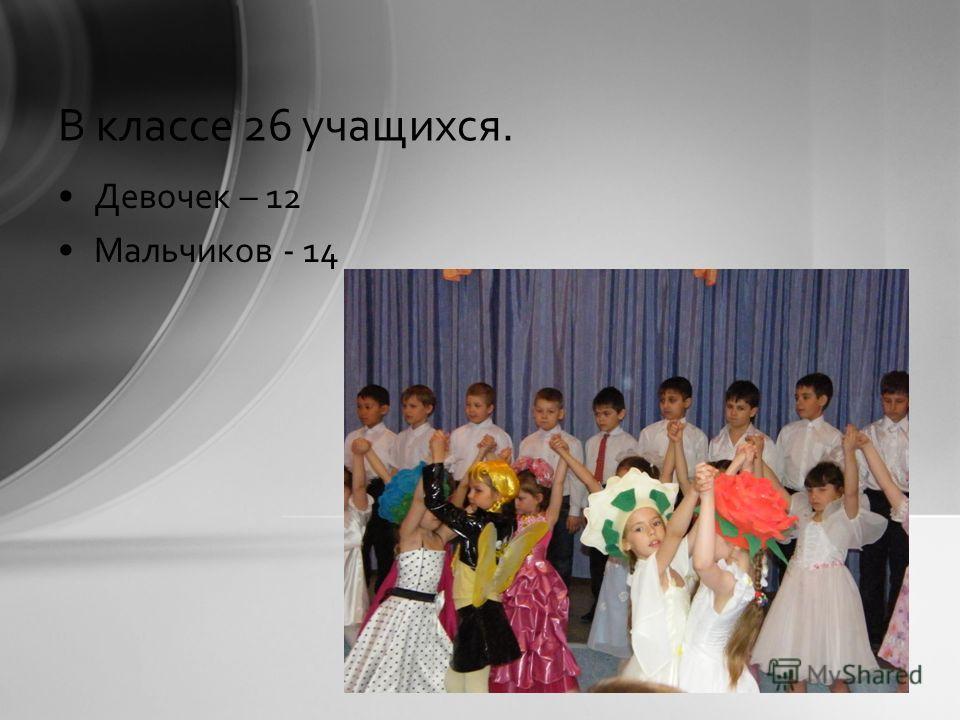 В классе 26 учащихся. Девочек – 12 Мальчиков - 14