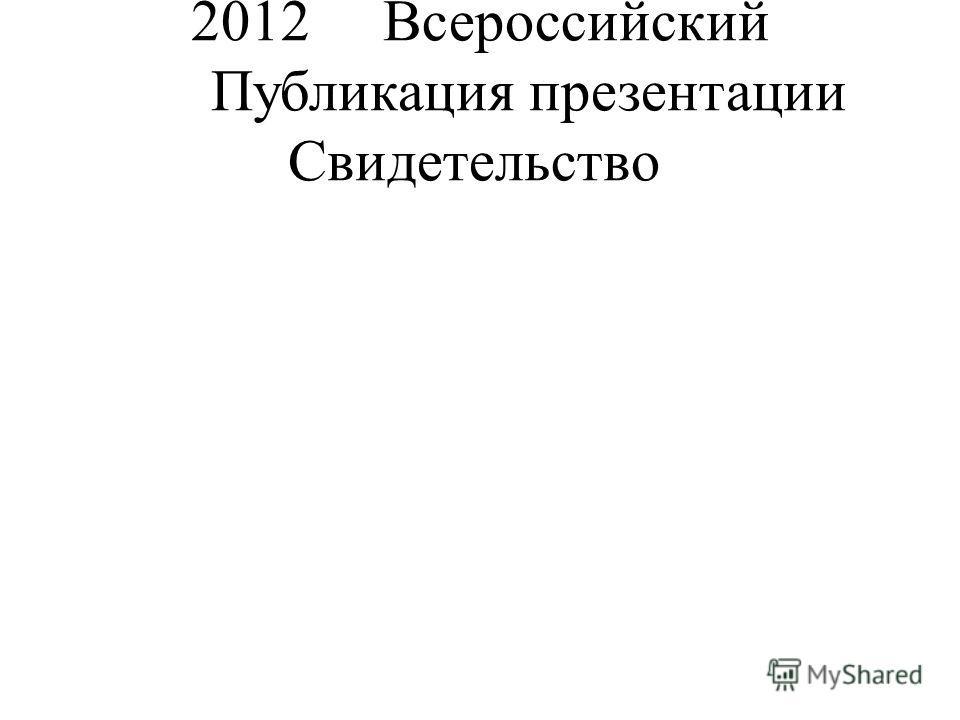 2012Всероссийский Публикация презентации Свидетельство
