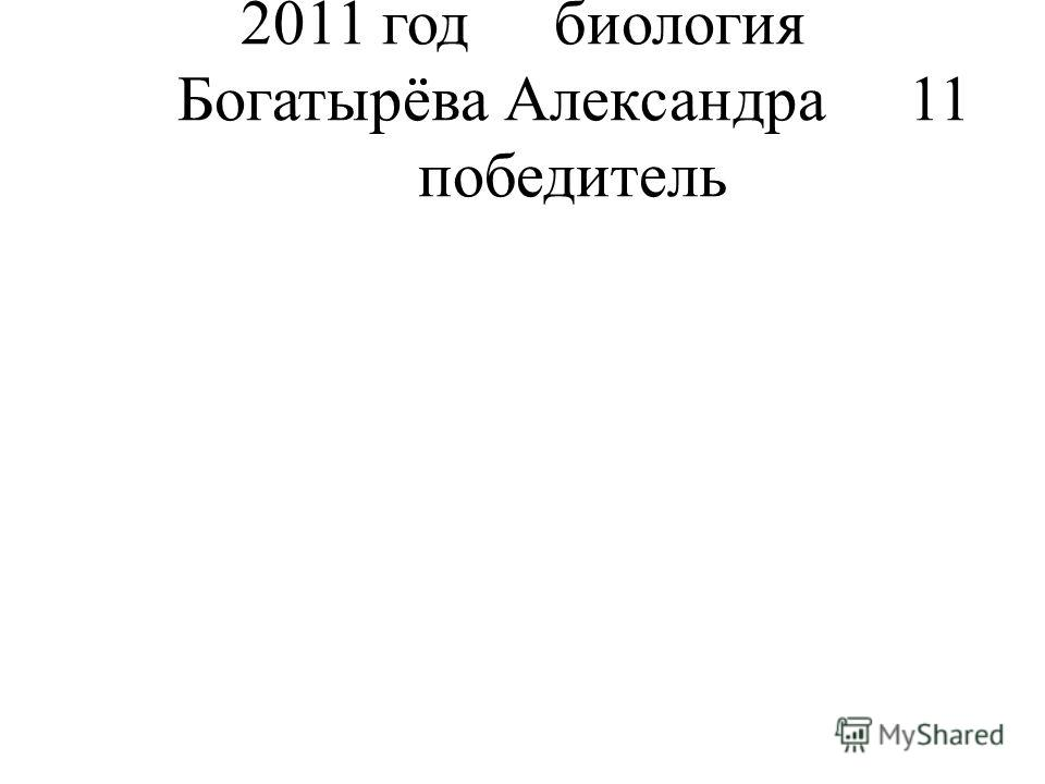 2011 годбиология Богатырёва Александра11 победитель