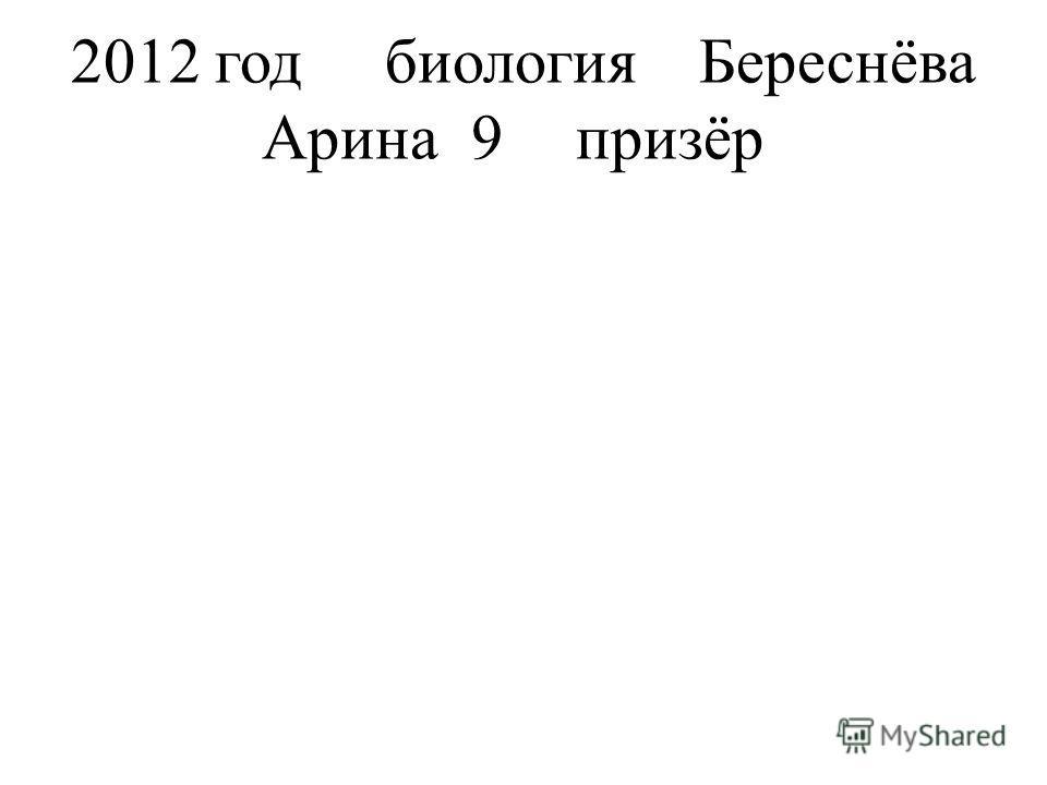 2012 годбиологияБереснёва Арина9призёр