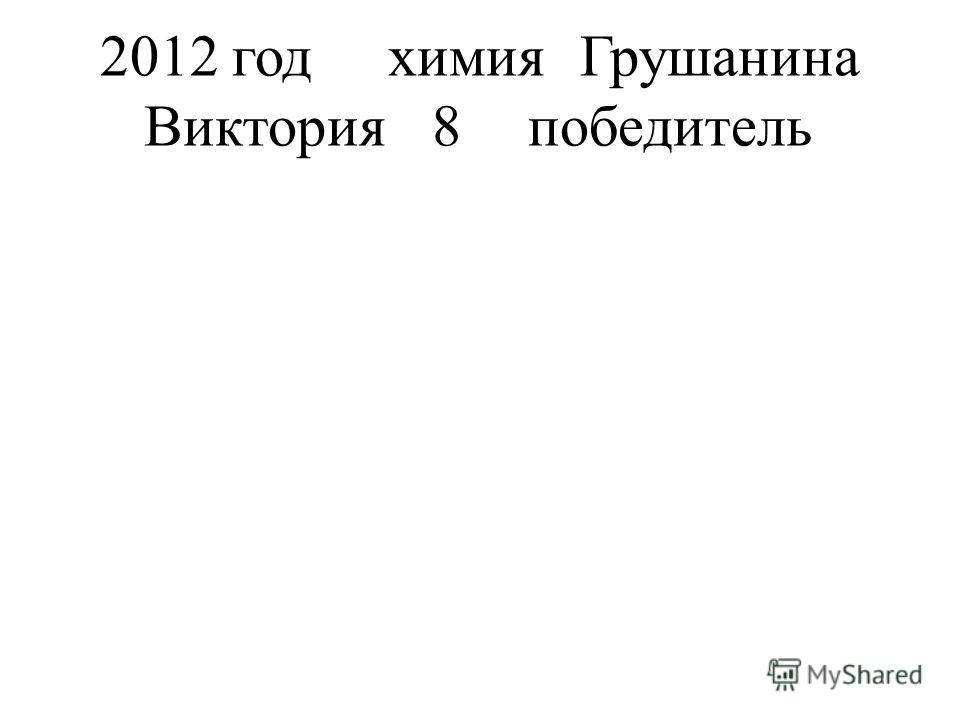2012 годхимияГрушанина Виктория8победитель