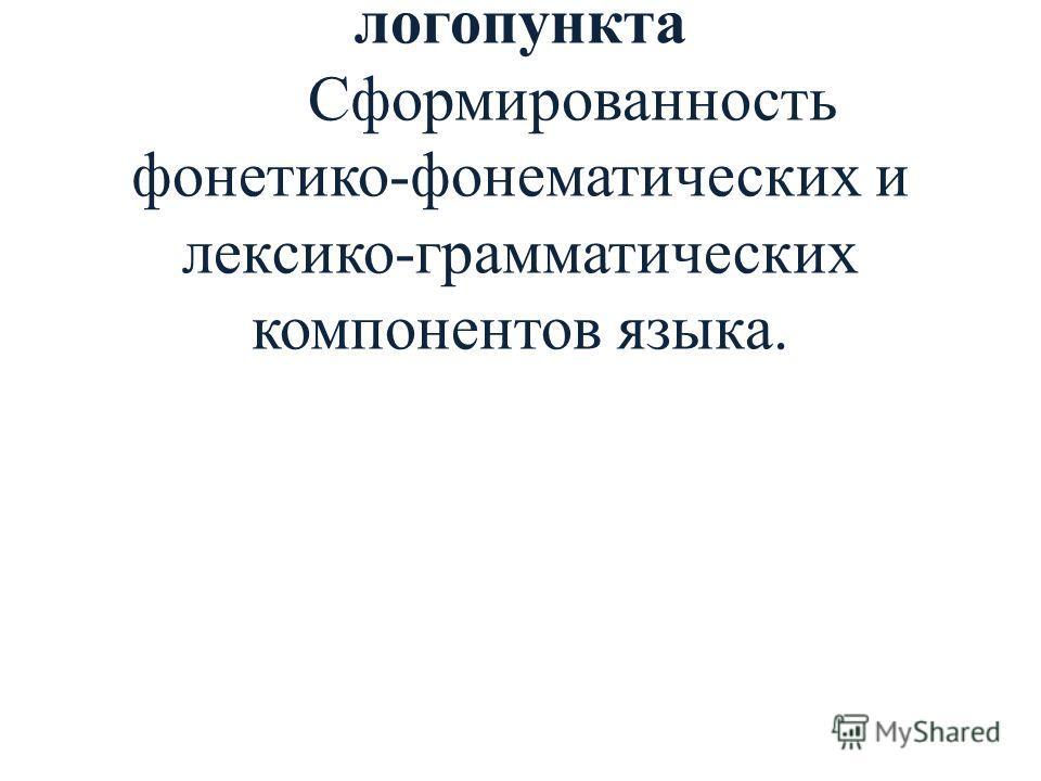 3. Коррекция речевых нарушений в условиях логопункта Сформированность фонетико-фонематических и лексико-грамматических компонентов языка.