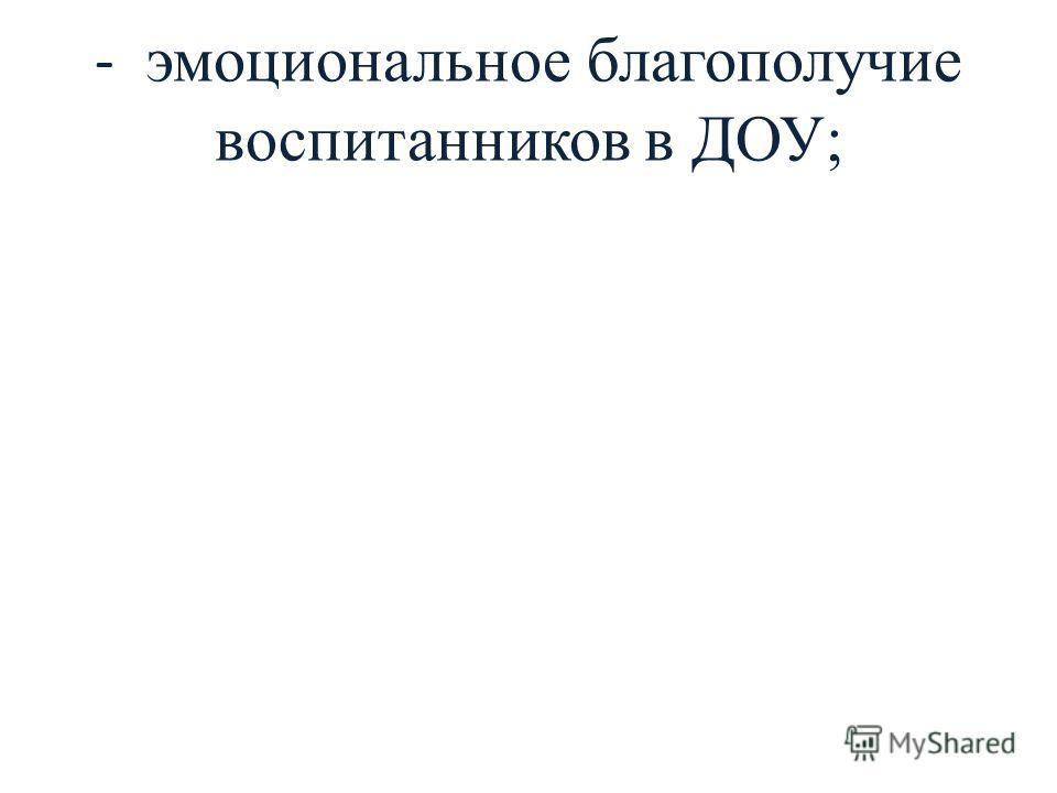 - эмоциональное благополучие воспитанников в ДОУ;