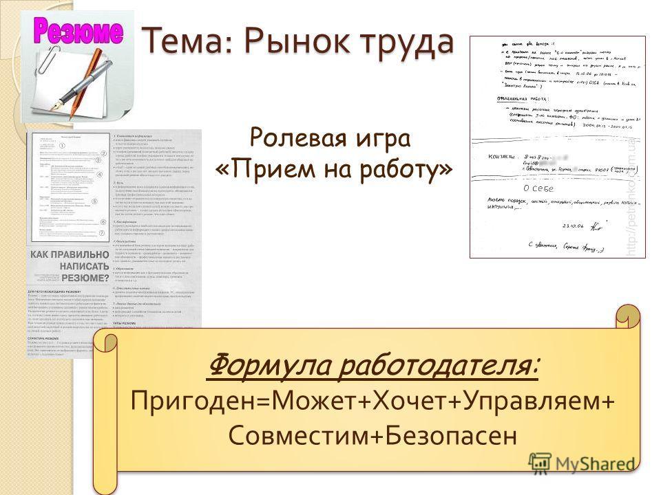 Тема : Рынок труда Ролевая игра «Прием на работу» Формула работодателя: Пригоден=Может+Хочет+Управляем+ Совместим+Безопасен