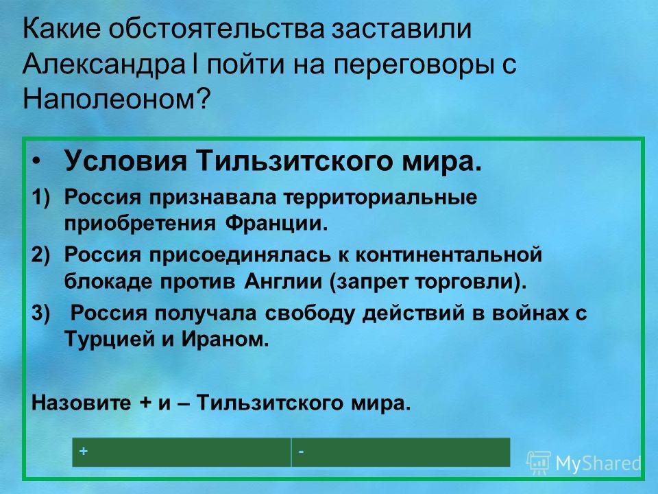 Какие обстоятельства заставили Александра l пойти на переговоры с Наполеоном? Условия Тильзитского мира. 1)Россия признавала территориальные приобретения Франции. 2)Россия присоединялась к континентальной блокаде против Англии (запрет торговли). 3) Р