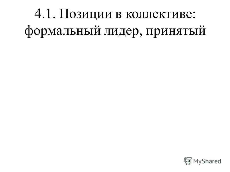 4.1. Позиции в коллективе: формальный лидер, принятый