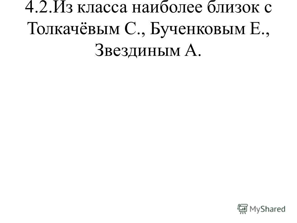 4.2.Из класса наиболее близок с Толкачёвым С., Бученковым Е., Звездиным А.