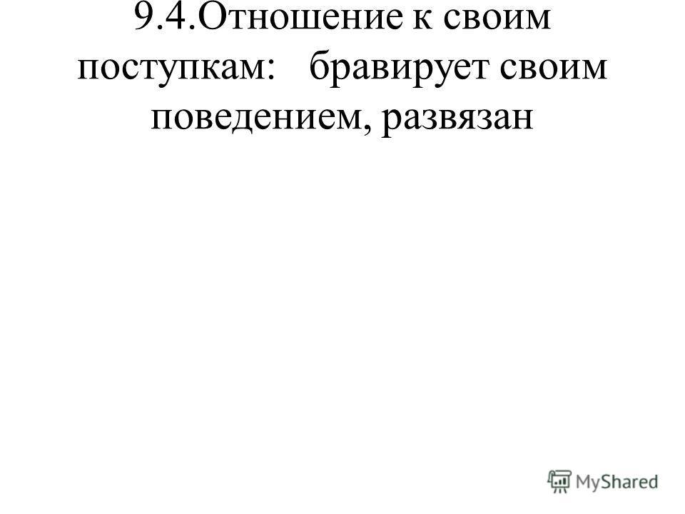 9.4.Отношение к своим поступкам: бравирует своим поведением, развязан