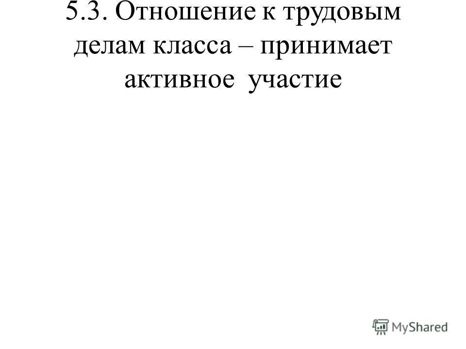 5.3. Отношение к трудовым делам класса – принимает активное участие