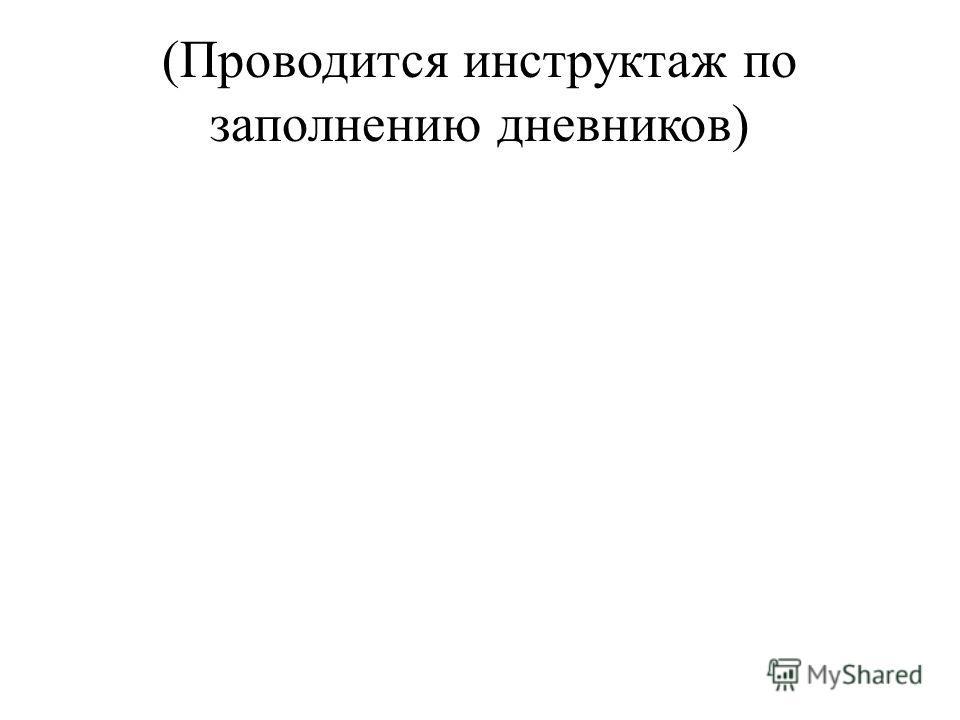 (Проводится инструктаж по заполнению дневников)