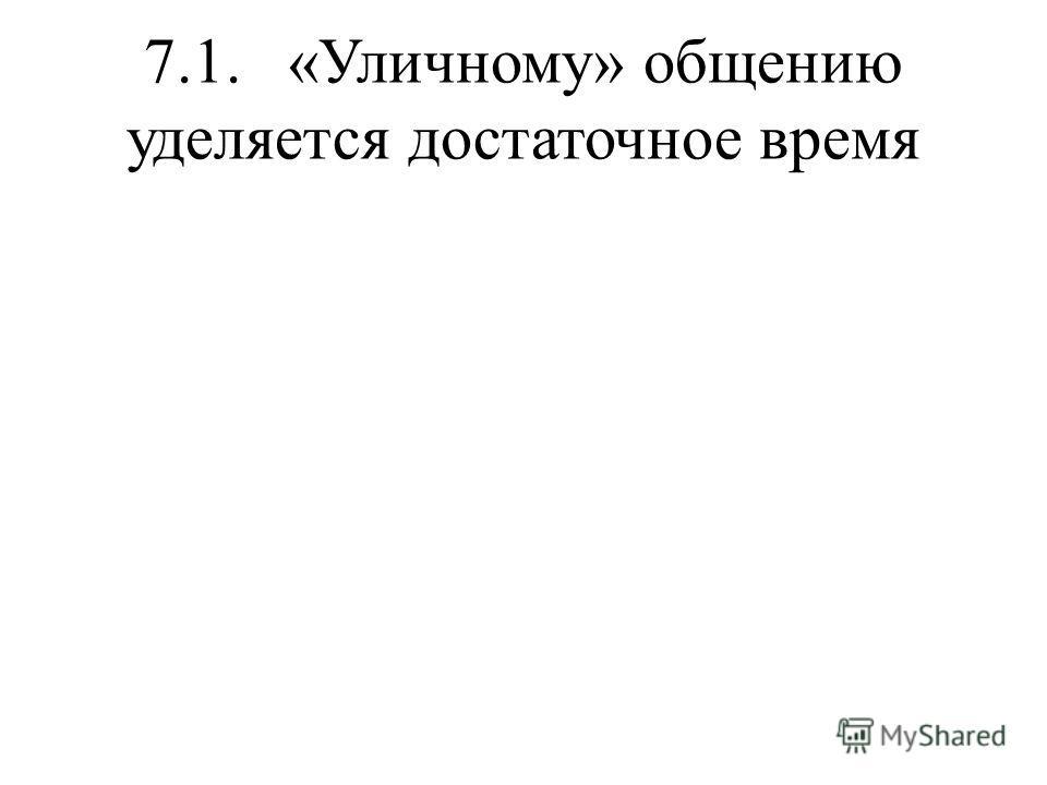 7.1. «Уличному» общению уделяется достаточное время