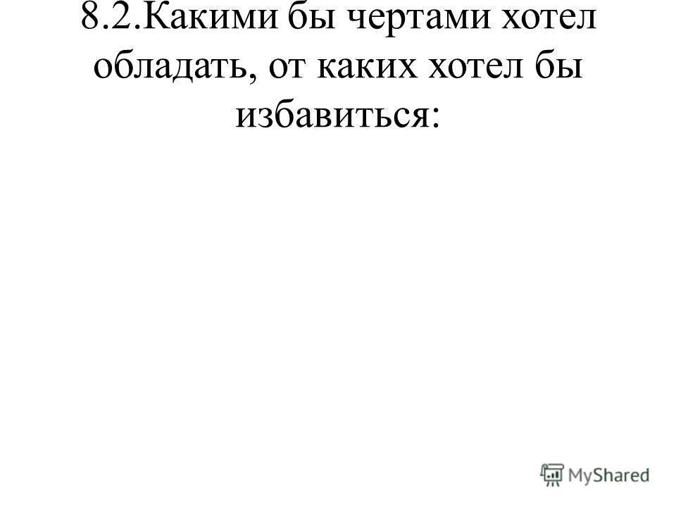 8.2.Какими бы чертами хотел обладать, от каких хотел бы избавиться: