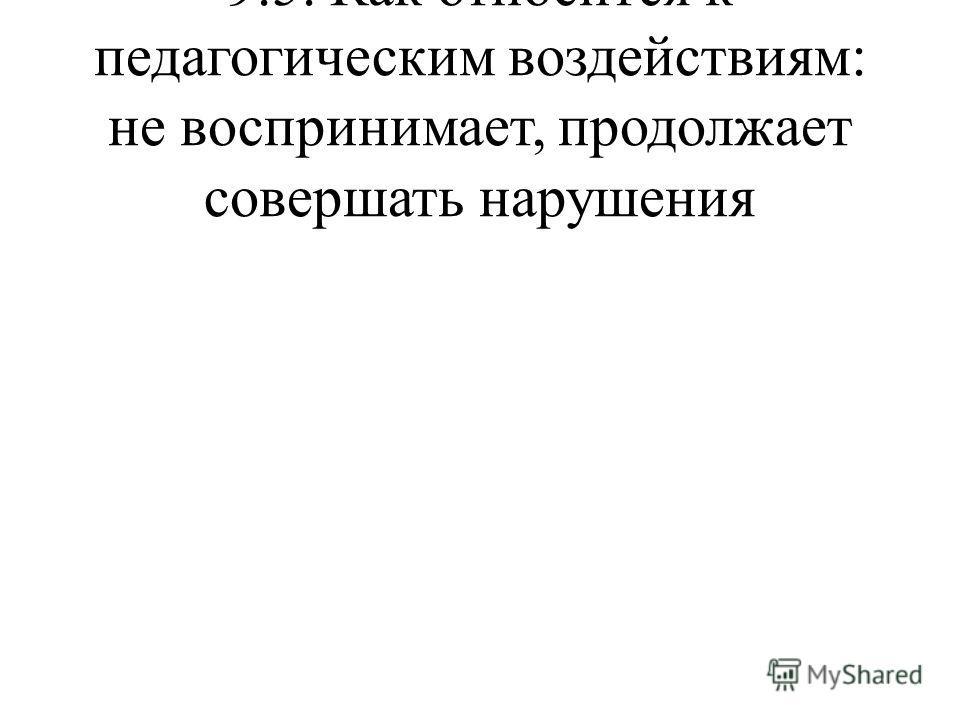 9.5. Как относится к педагогическим воздействиям: не воспринимает, продолжает совершать нарушения