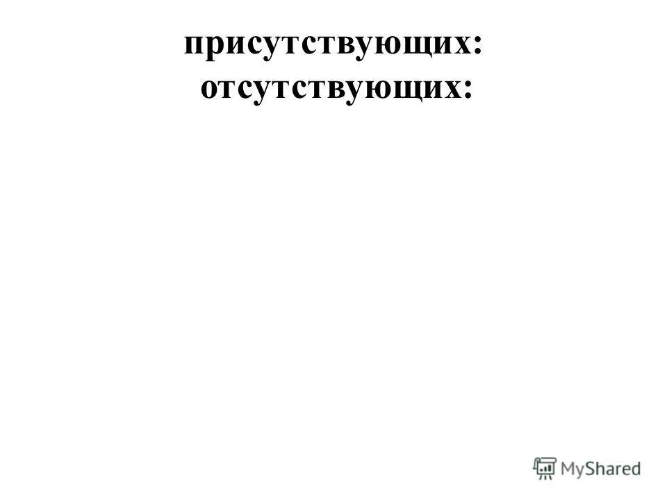 присутствующих: отсутствующих: