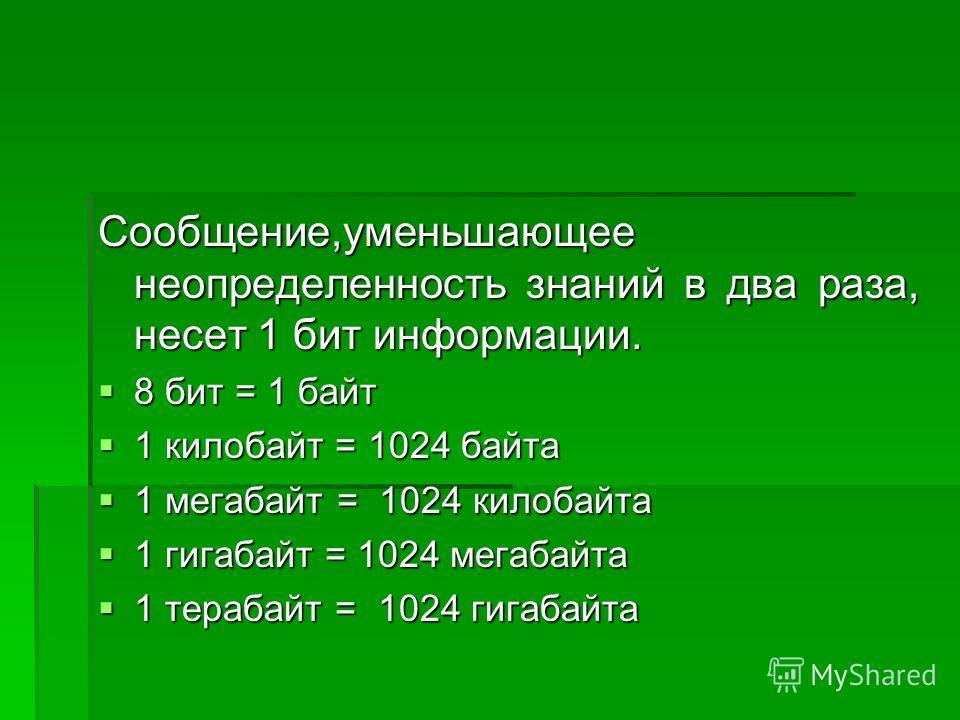 Сообщение,уменьшающее неопределенность знаний в два раза, несет 1 бит информации. 8 бит = 1 байт 8 бит = 1 байт 1 килобайт = 1024 байта 1 килобайт = 1024 байта 1 мегабайт = 1024 килобайта 1 мегабайт = 1024 килобайта 1 гигабайт = 1024 мегабайта 1 гига