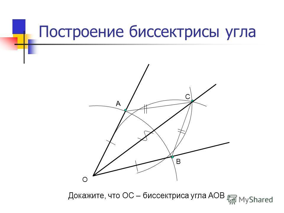 А В С О Построение биссектрисы угла Докажите, что ОС – биссектриса угла АОВ