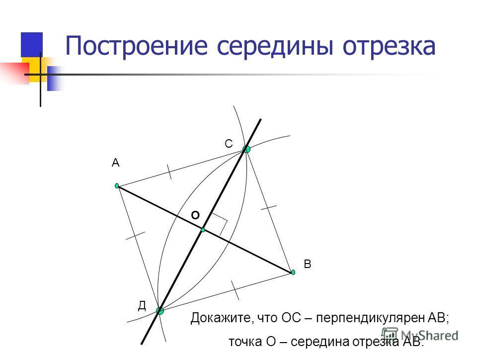 Построение середины отрезка А В С Д О Докажите, что ОС – перпендикулярен АВ; точка О – середина отрезка АВ.