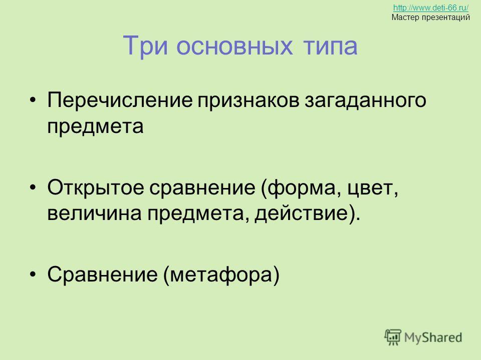 Три основных типа Перечисление признаков загаданного предмета Открытое сравнение (форма, цвет, величина предмета, действие). Сравнение (метафора) http://www.deti-66.ru/ Мастер презентаций