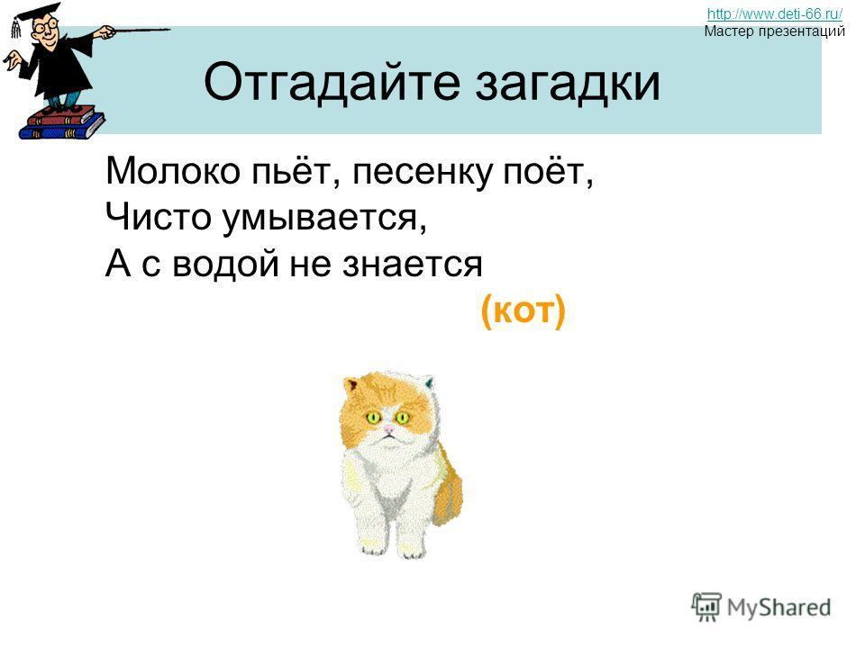 Отгадайте загадки Молоко пьёт, песенку поёт, Чисто умывается, А с водой не знается (кот) http://www.deti-66.ru/ Мастер презентаций