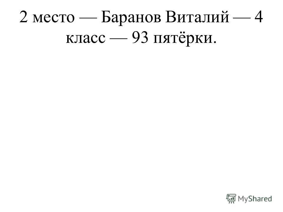 2 место Баранов Виталий 4 класс 93 пятёрки.