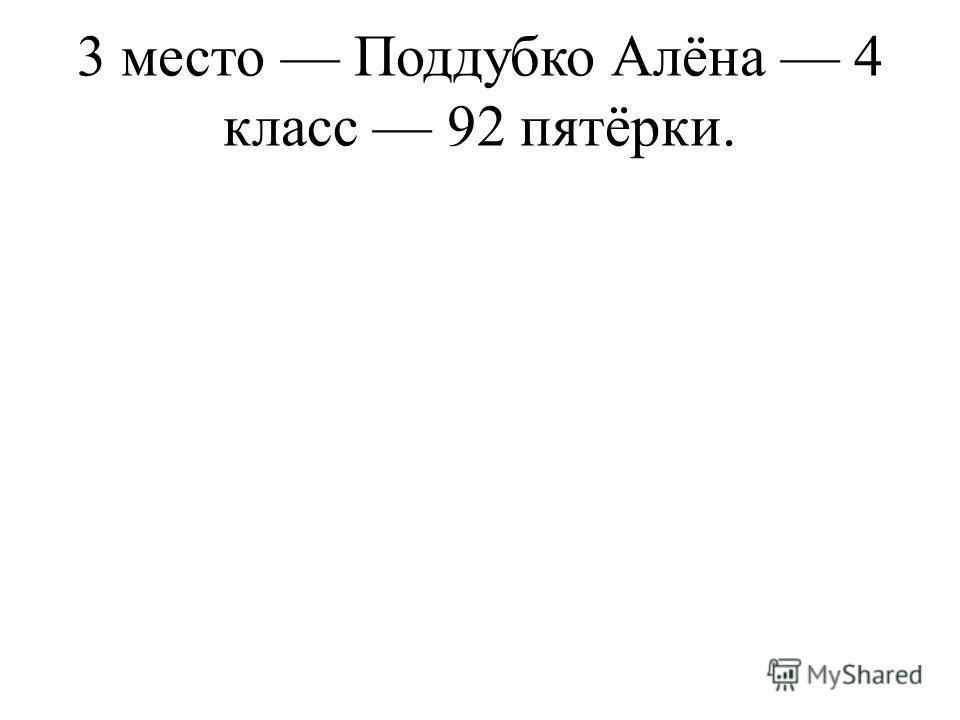 3 место Поддубко Алёна 4 класс 92 пятёрки.