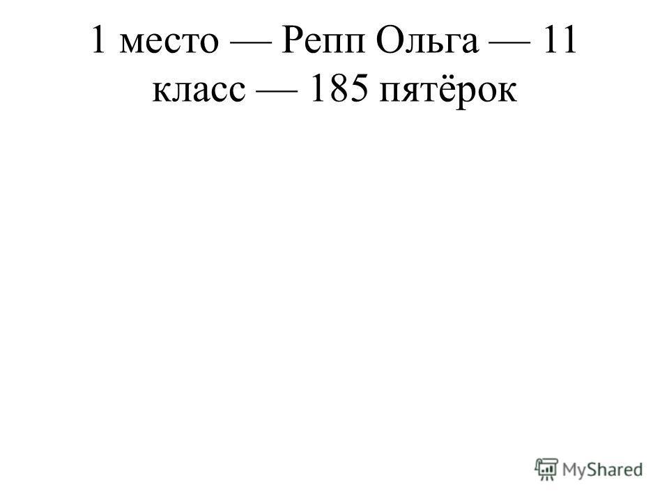 1 место Репп Ольга 11 класс 185 пятёрок