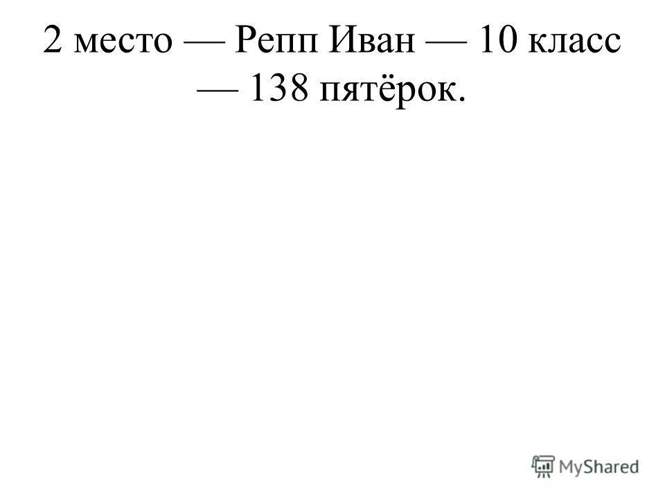 2 место Репп Иван 10 класс 138 пятёрок.