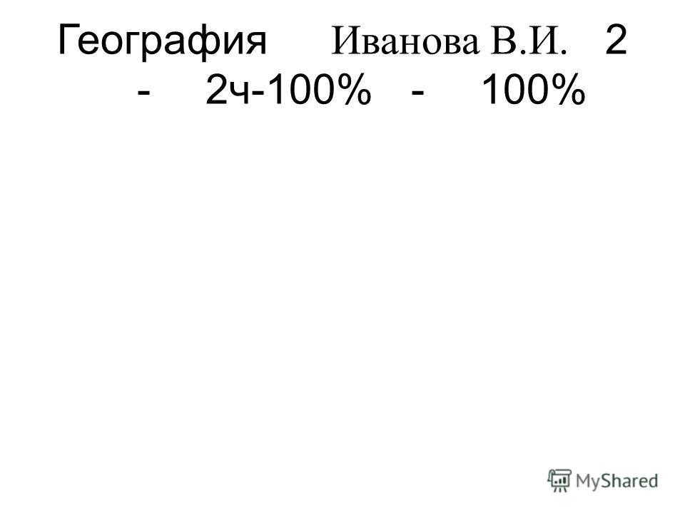 География Иванова В.И. 2 -2ч-100%-100%