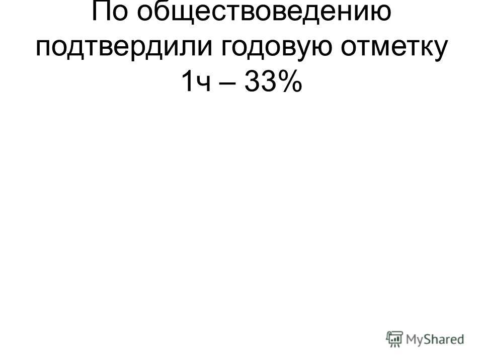 По обществоведению подтвердили годовую отметку 1ч – 33%