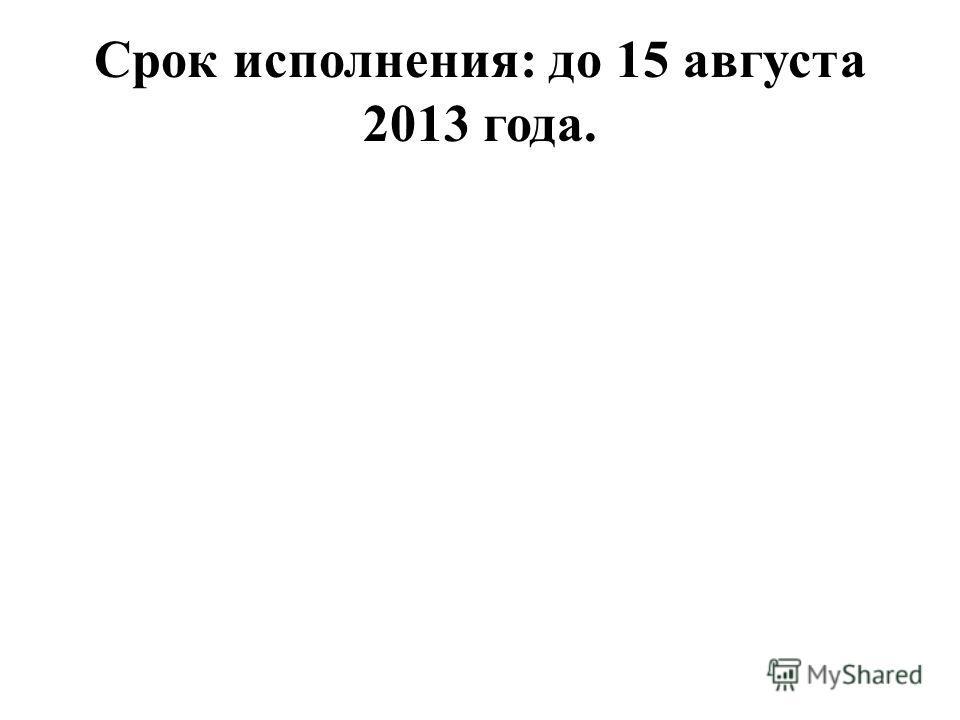 Срок исполнения: до 15 августа 2013 года.