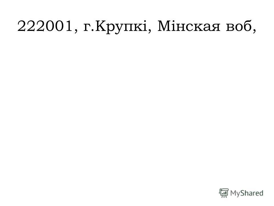 222001, г.Крупкі, Мінская воб,