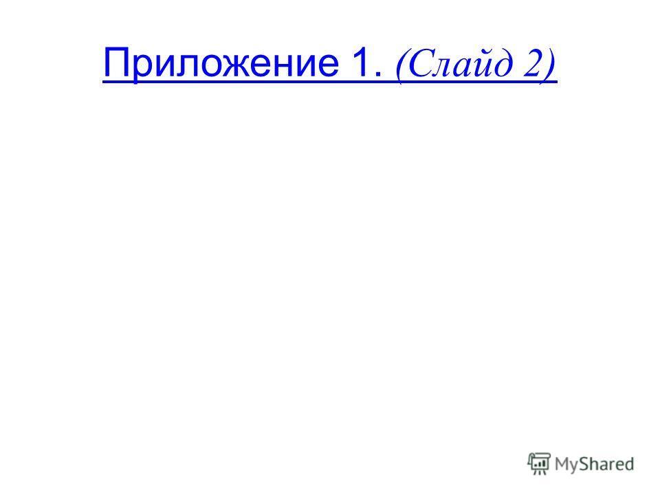 Приложение 1. (Слайд 2)