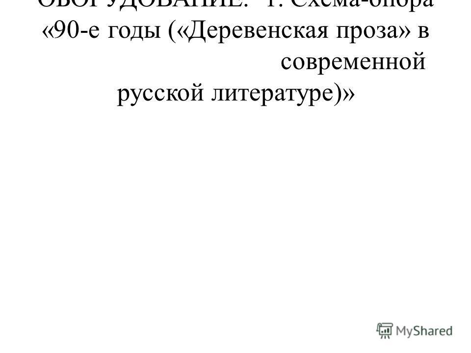 ОБОРУДОВАНИЕ. 1. Схема-опора «90-е годы («Деревенская проза» в современной русской литературе)»
