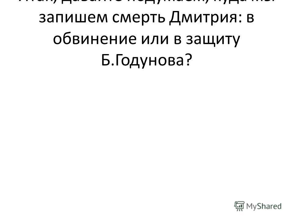 Итак, давайте подумаем, куда мы запишем смерть Дмитрия: в обвинение или в защиту Б.Годунова?