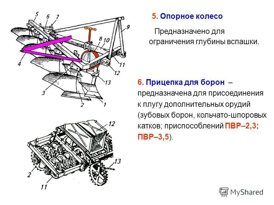 5. Опорное колесо Предназначено для ограничения глубины вспашки. 6. Прицепка для борон – предназначена для присоединения к плугу дополнительных орудий (зубовых борон, кольчато-шпоровых катков; приспособлений ПВР–2,3; ПВР–3,5).