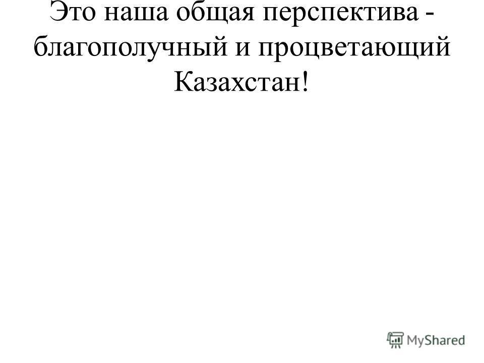Это наша общая перспектива - благополучный и процветающий Казахстан!
