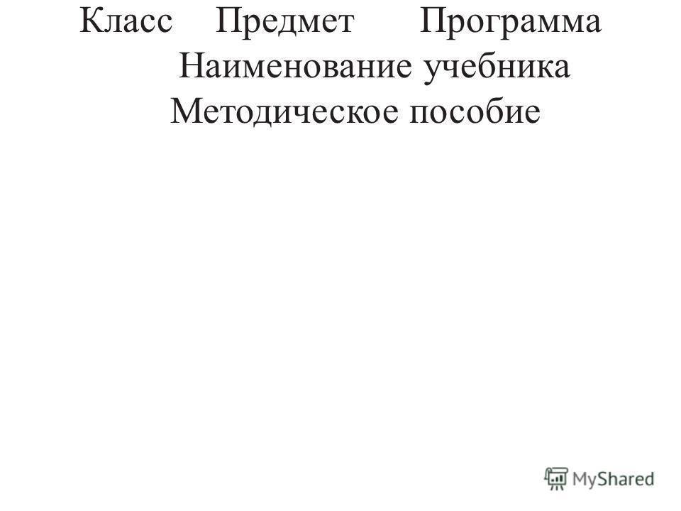 КлассПредметПрограмма Наименование учебника Методическое пособие