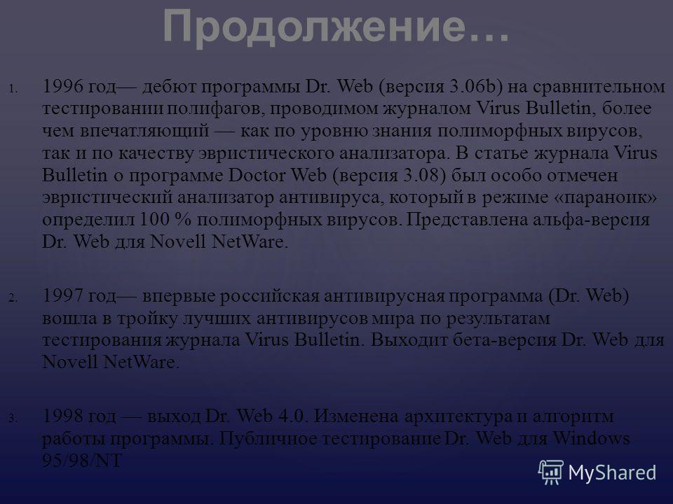 1. 1. 1996 год дебют программы Dr. Web ( версия 3.06b) на сравнительном тестировании полифагов, проводимом журналом Virus Bulletin, более чем впечатляющий как по уровню знания полиморфных вирусов, так и по качеству эвристического анализатора. В стать