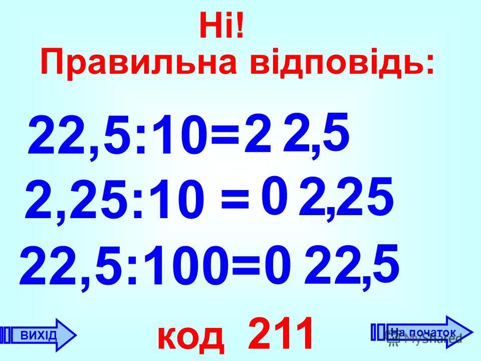 22,5:10= 2, 2 2,25:10 = 0 2, 22,5:100= 22 код 211 5 0 5, 25 ВИХІД Ні! Правильна відповідь: На початок