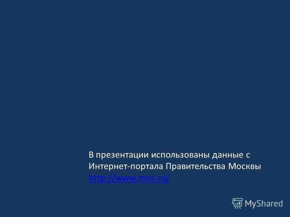 В презентации использованы данные с Интернет-портала Правительства Москвы http://www.mos.ru/ http://www.mos.ru/