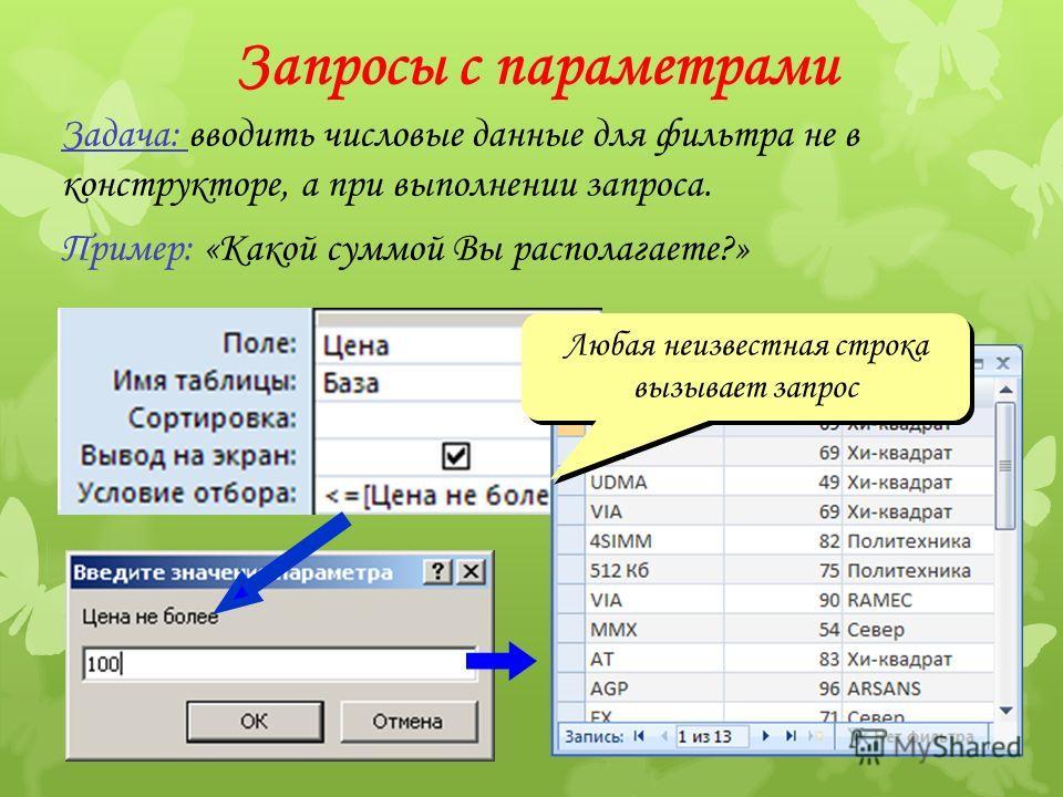 Запросы с параметрами Задача: вводить числовые данные для фильтра не в конструкторе, а при выполнении запроса. Пример: «Какой суммой Вы располагаете?» Любая неизвестная строка вызывает запрос