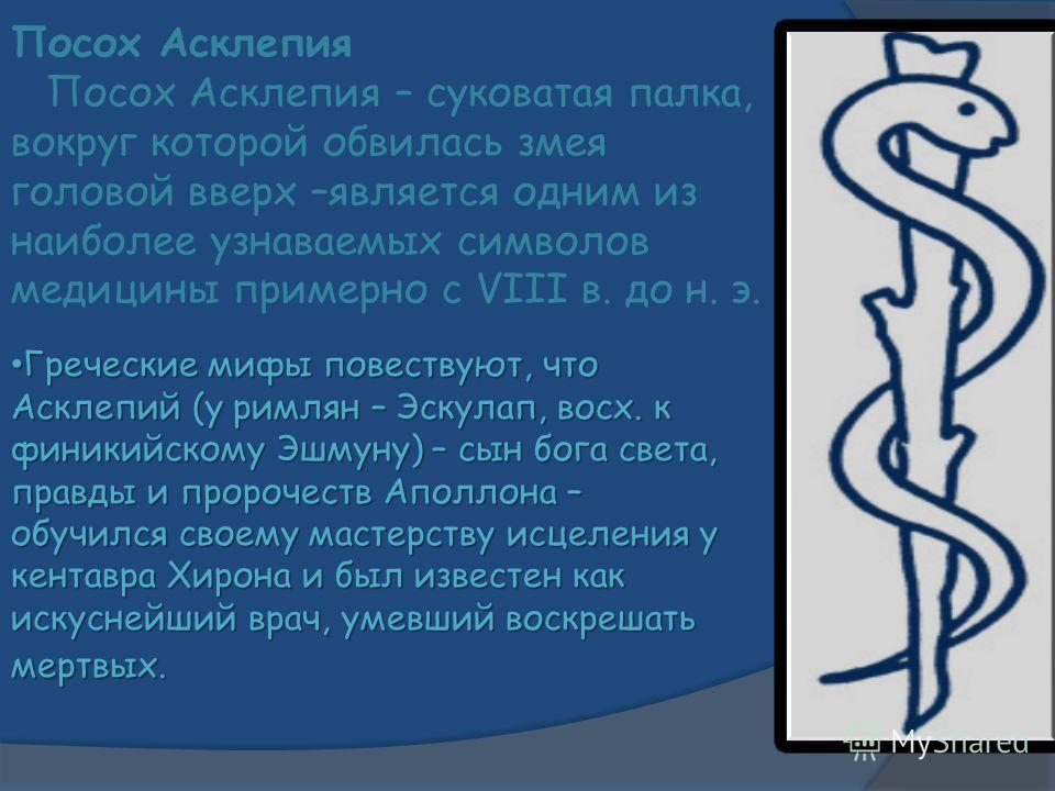 Посох Асклепия Посох Асклепия – суковатая палка, вокруг которой обвилась змея головой вверх –является одним из наиболее узнаваемых символов медицины примерно с VIII в. до н. э. Греческие мифы повествуют, что Асклепий (у римлян – Эскулап, восх. к фини