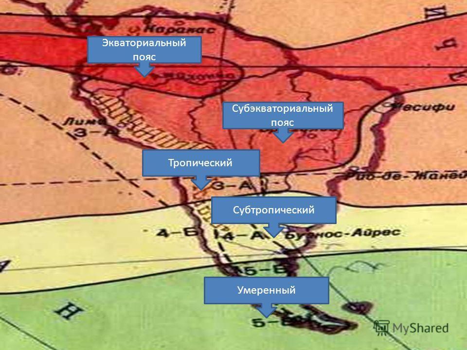 Климатические пояса Субэкваториальный пояс Экваториальный пояс Тропический Субтропический Умеренный