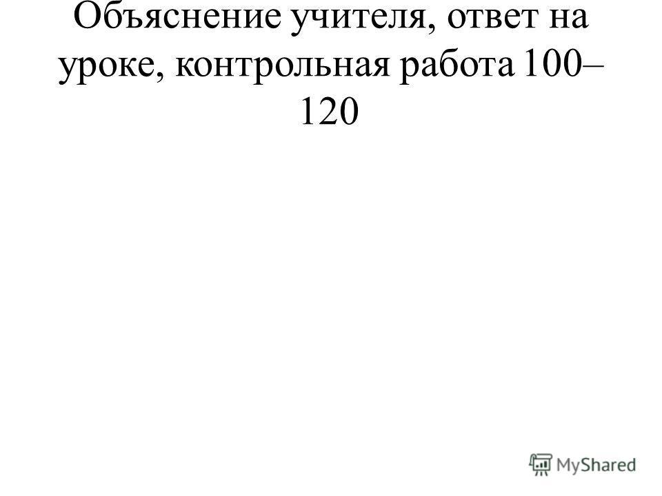Объяснение учителя, ответ на уроке, контрольная работа100–120