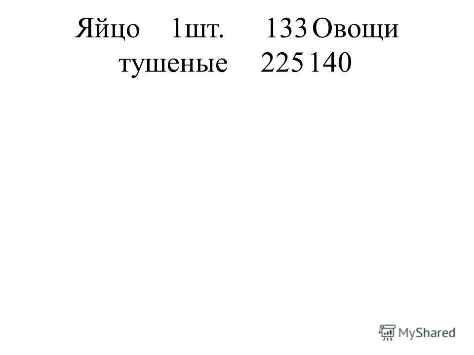 Яйцо1шт.133Овощи тушеные225140